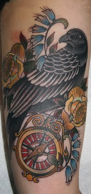 Beautiful Crow Compass And Flower Tattoos