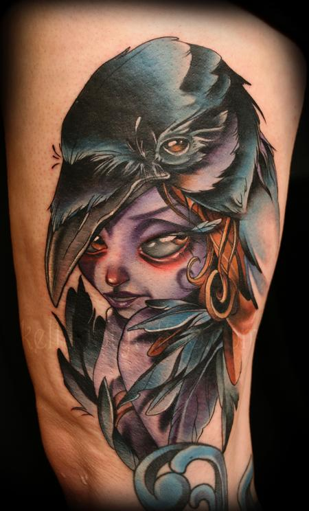 Beautiful Crow Raven Girl Tattoo