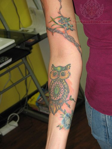 Beautiful Dreamcatcher Owl Tattoo On Arm