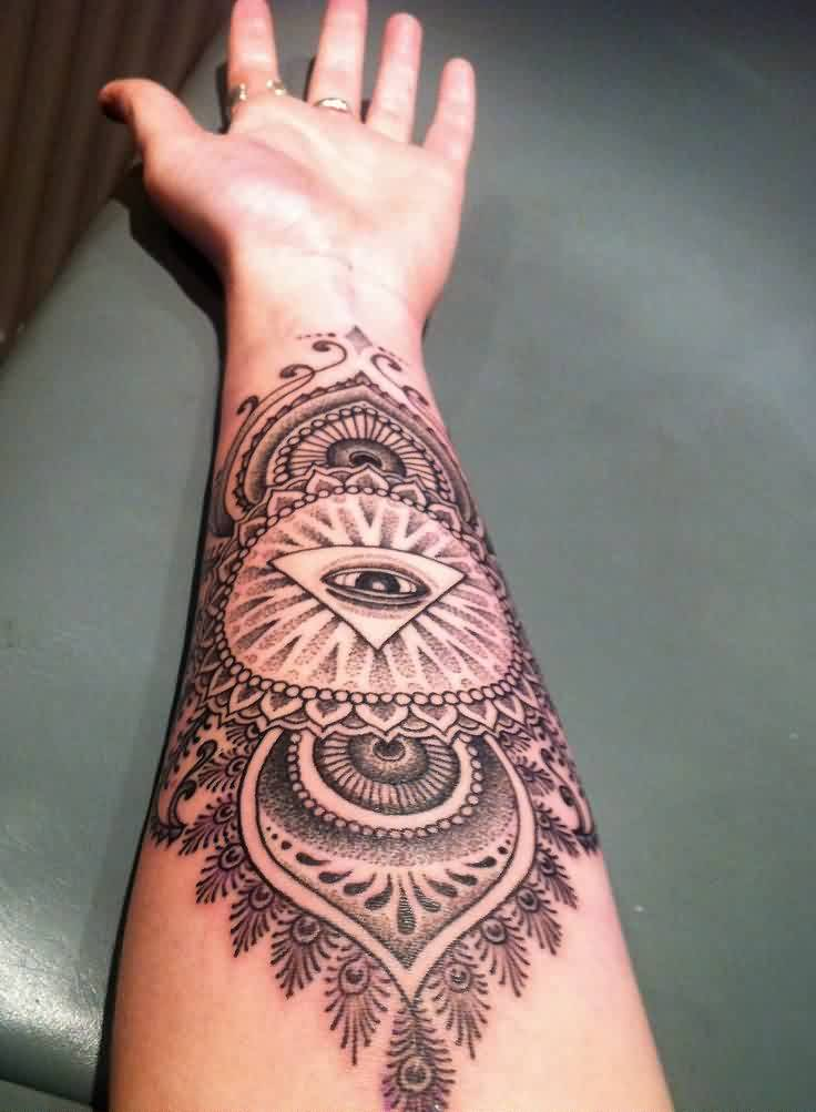 Beautiful Eye Triangle Tattoo On Forearm For Women