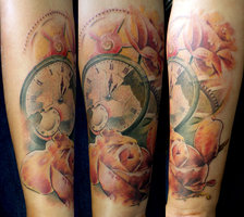Beautiful Flowers And Clock Tattoos