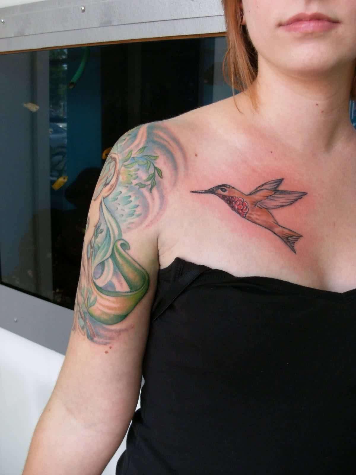 Beautiful Flying Bird Tattoo On Right Below Collarbone