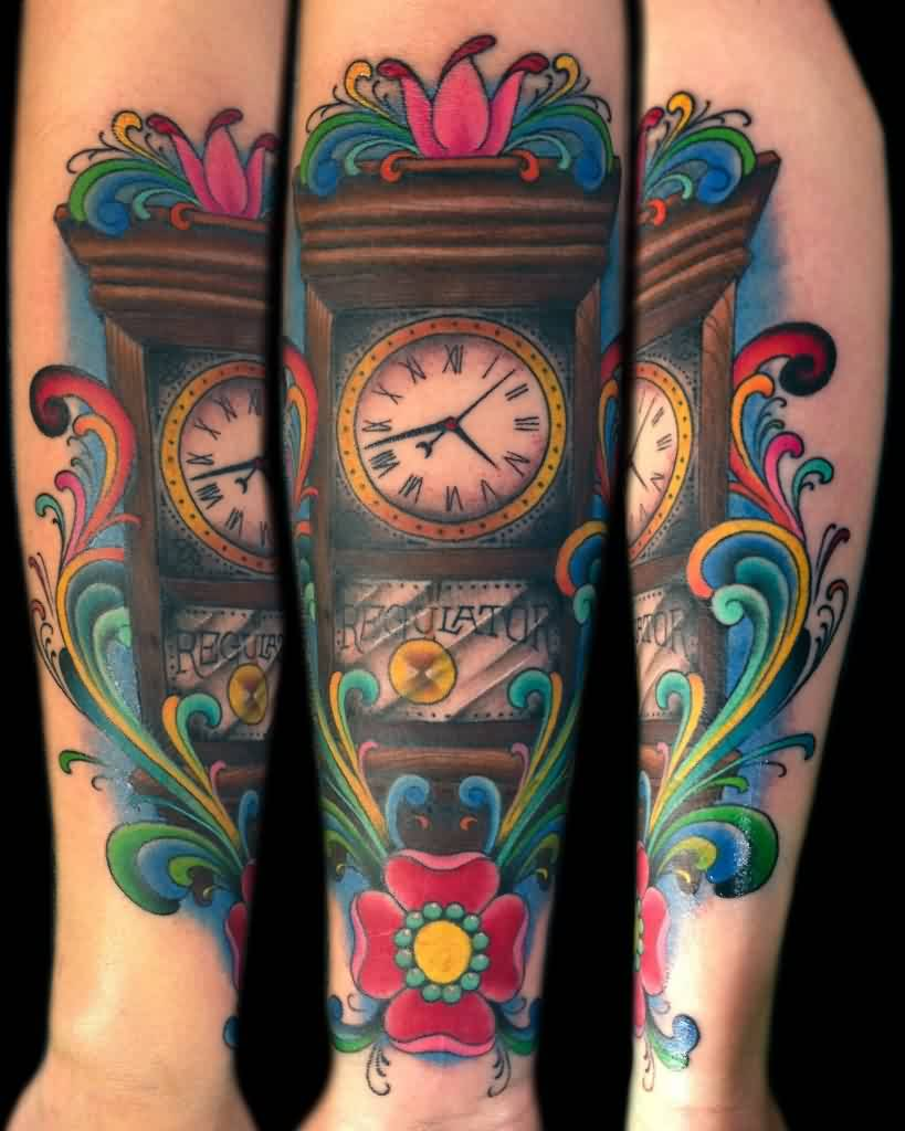 Beautiful Grandfather Clock Tattoos