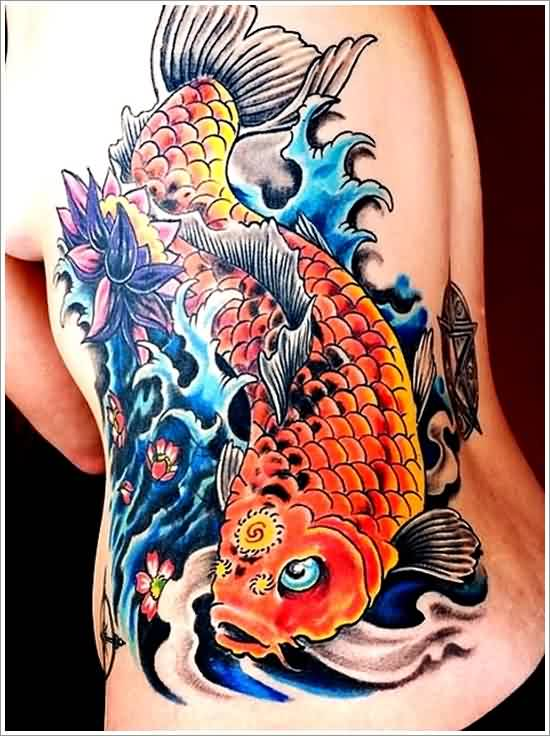 Beautiful Koi Fish In Wave Tattoos On Side Back For Women