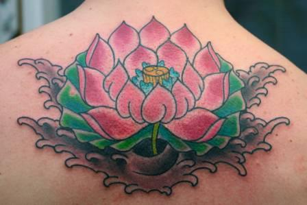 Beautiful Lotus In Wave Tattoo For Women