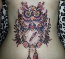 Beautiful Owl Clock Tattoo On Stomach