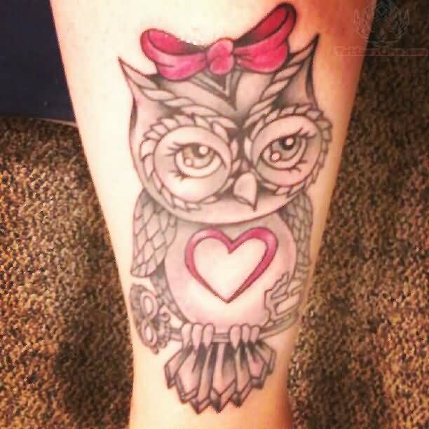 Beautiful Owl On Key Tattoo
