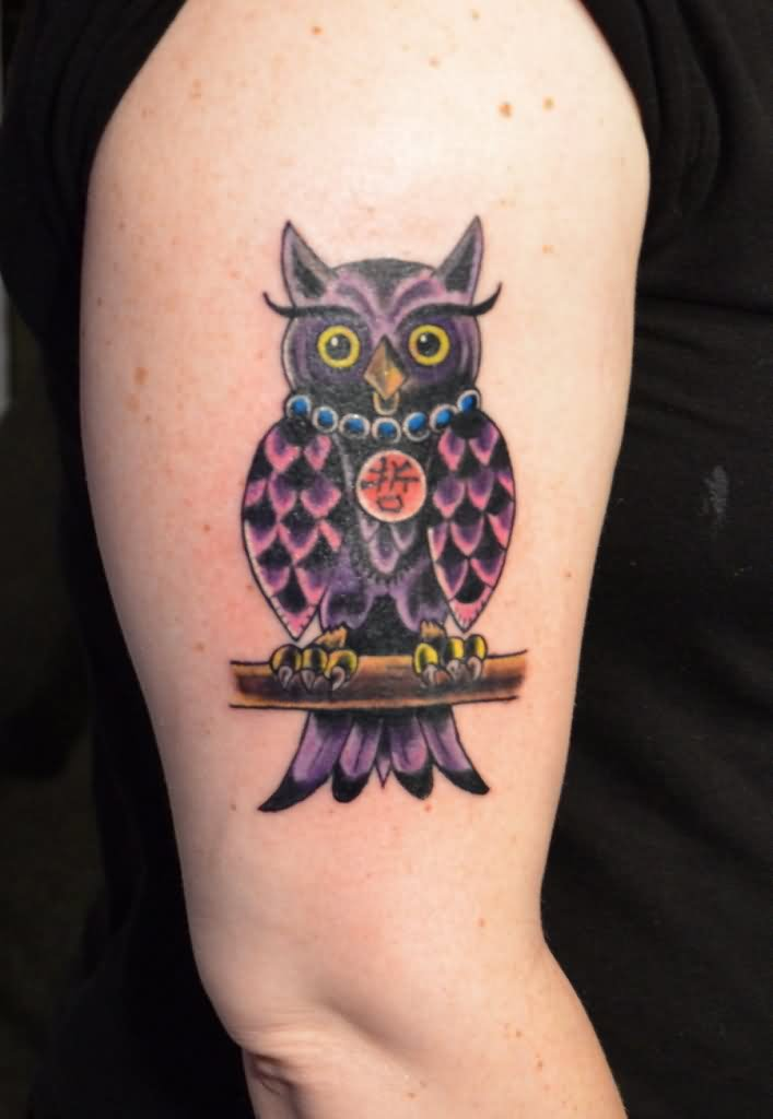 Beautiful Owl Tattoo On Biceps