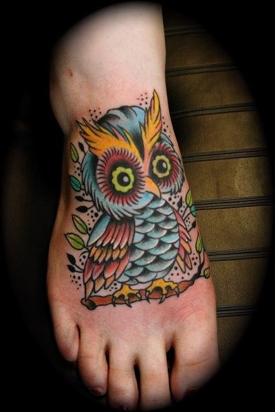 Beautiful Owl Tattoo On Foot