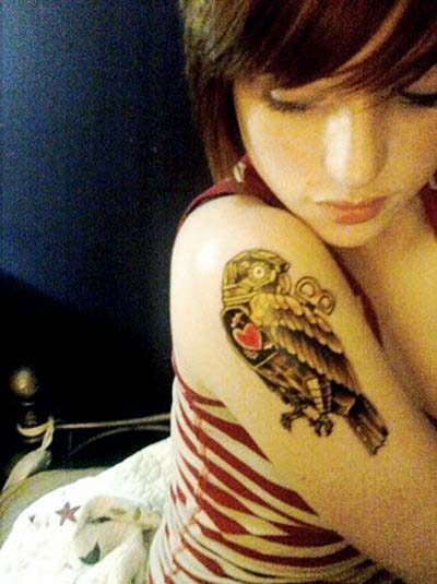 Beautiful Owl Tattoo On Right Biceps