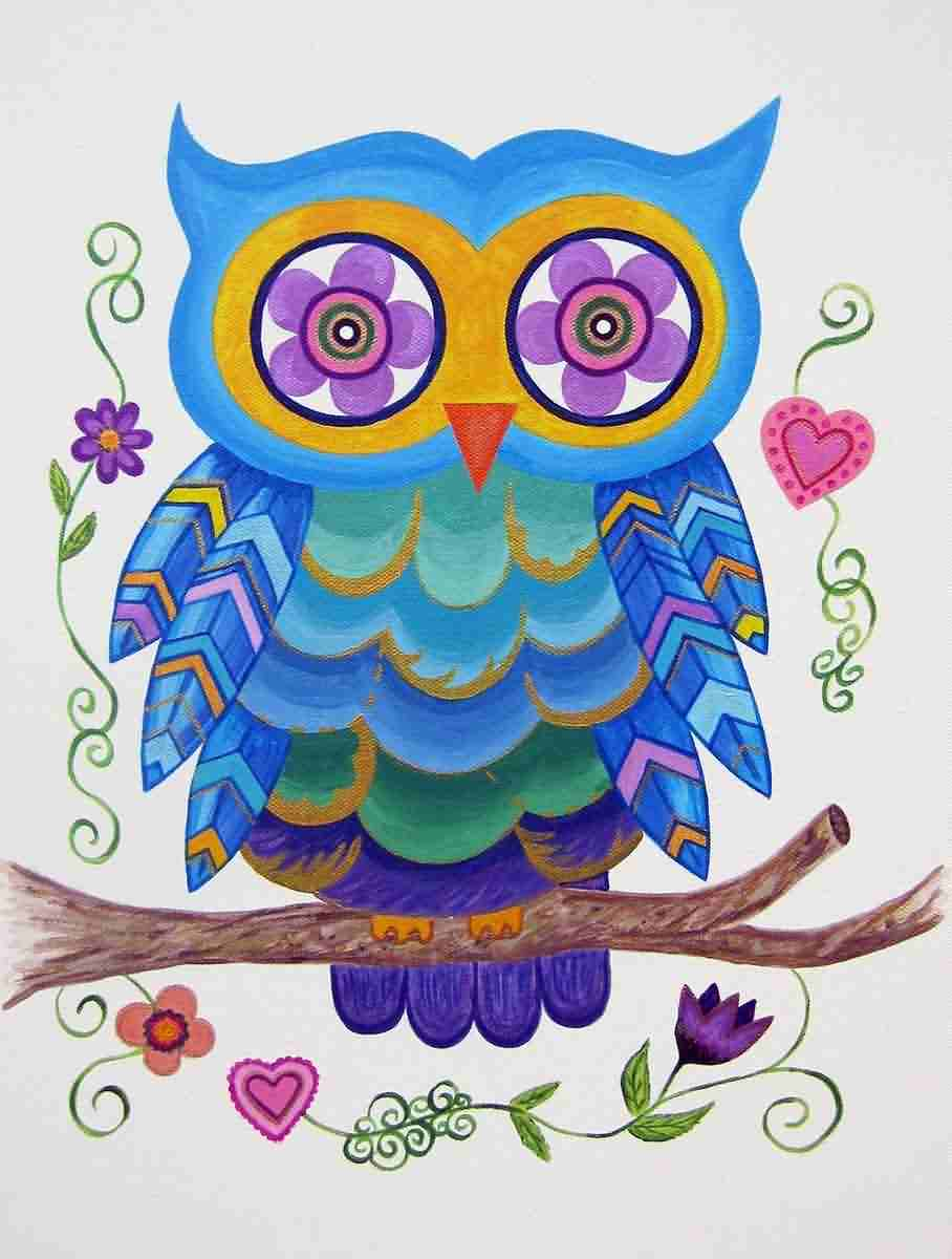 Beautiful Owl With Flowers Eye Tattoo Print