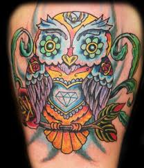 Beautiful Owl With Flowers Eye Tattoo