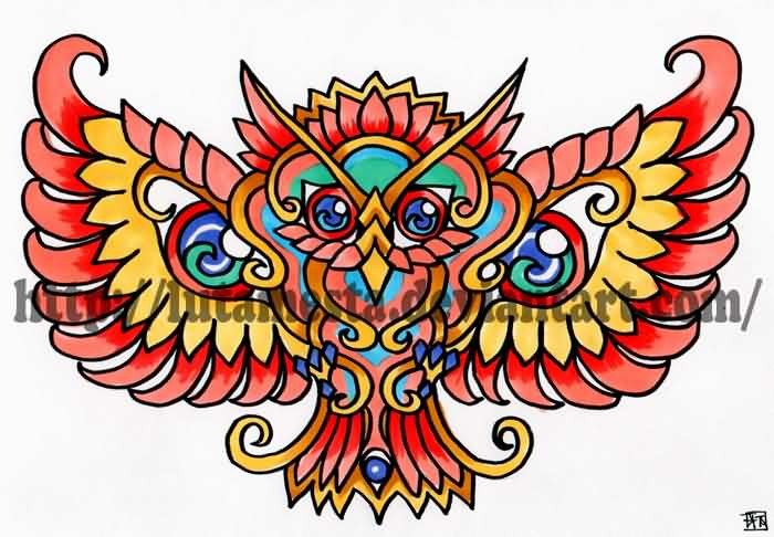 Beautiful Owl With Open Wings Tattoo Design