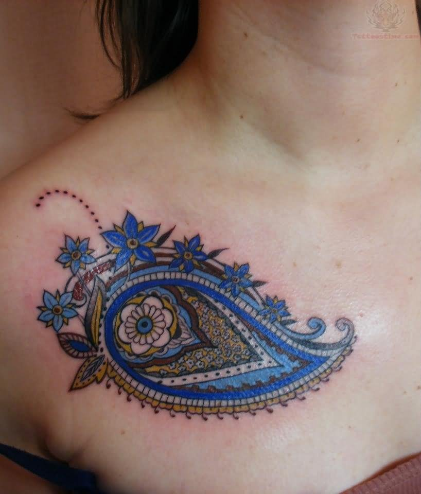 Beautiful Paisley Pattern Tattoo On Collarbone