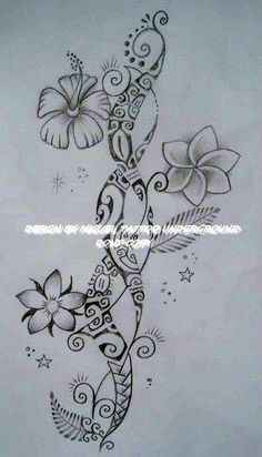 Beautiful Polynesian And Flower Tattoo Designs