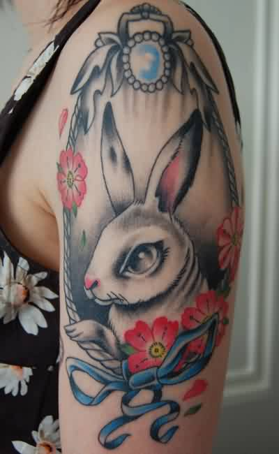 Beautiful Rabbit Frame Tattoo On Shoulder For Girls