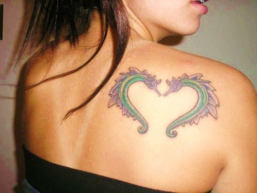 Beautiful Seahorse Heart Tattoo On Right Back Shoulder