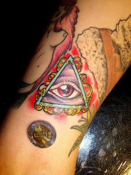 Beautiful Triangle Eye Tattoo And A Coin