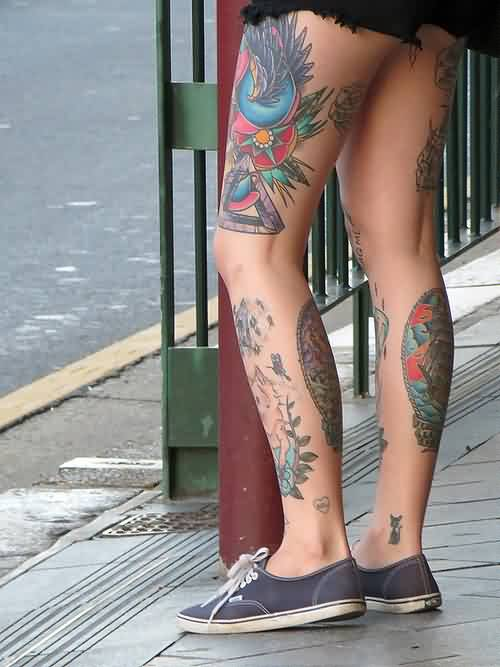 Beautiful Triangle Tattoo On Left Thigh