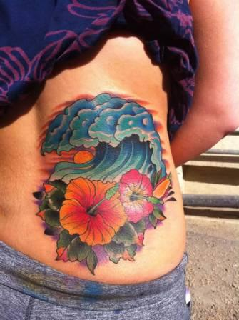 Beautiful Wave And Flower Tattoos On Waist