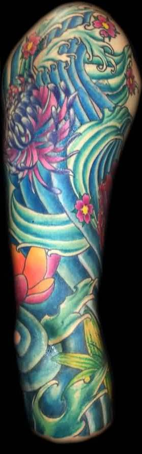 Beautiful Waves And Flower Sleeve Tattoos