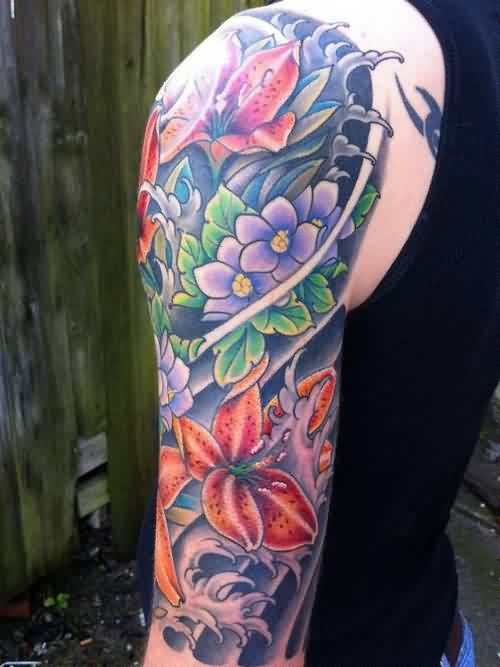 Beautiful Waves And Flower Tattoos On Half Sleeve