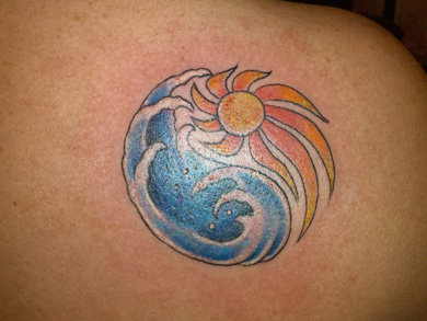 Beautiful Waves And Sun Tattoos