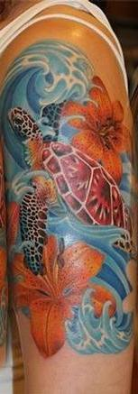 Beautiful Waves Flowers And Turtle Tattoos