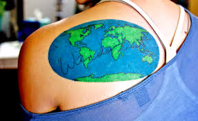 Beautiful World Map Tattoo On Back Shoulder