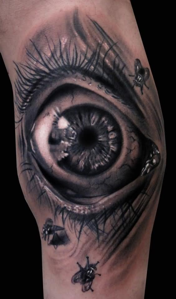 Bee Around 3D Eye Tattoos On Arm