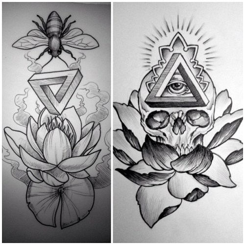 Bee Penrose Triangle And Lotus Tattoos Flash