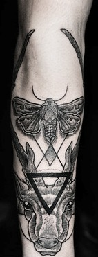 Bee Triangle And Animal Head Tattoos