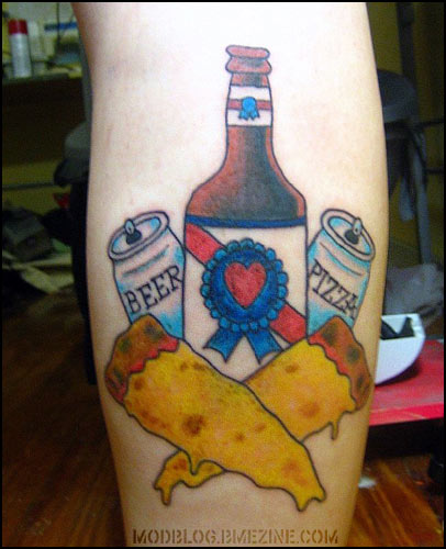 Beer And Crossed Pizza Tattoos