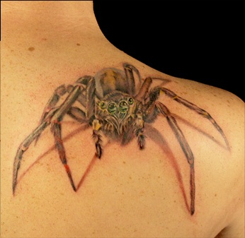 Best Grey 3D Spider Tattoo