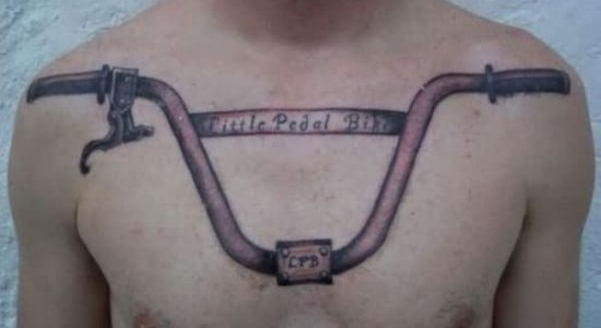 Bicycle Handle Tattoo On Collarbones
