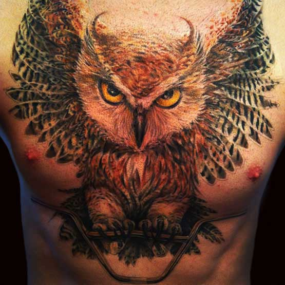 Big Owl Tattoo On The Chest