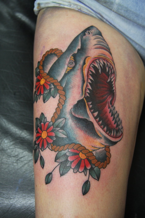 Big Shark Crawl And Flower Tattoos