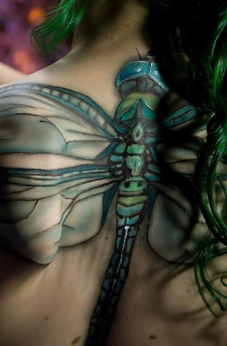 Big Size 3D Dragonfly Tattoo On The Back