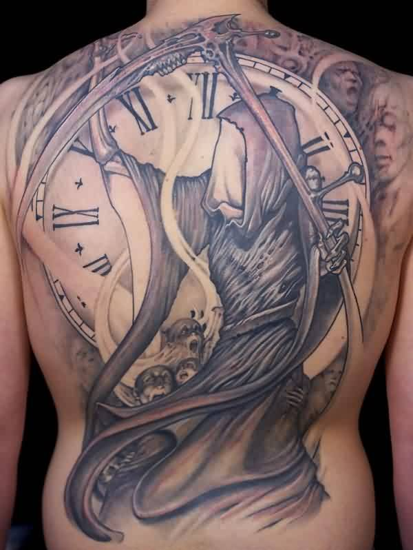 Big Size Grim Reaper With Clock Tattoo On Whole Back