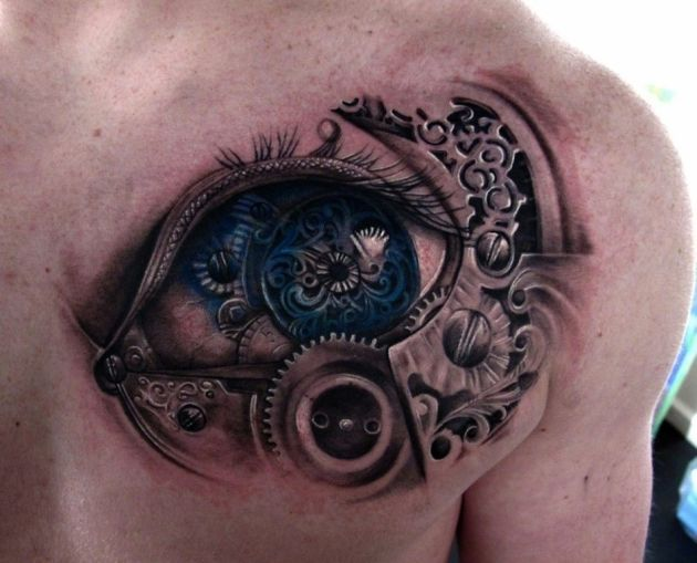 Biomechanical Blue - 3D Tattoo