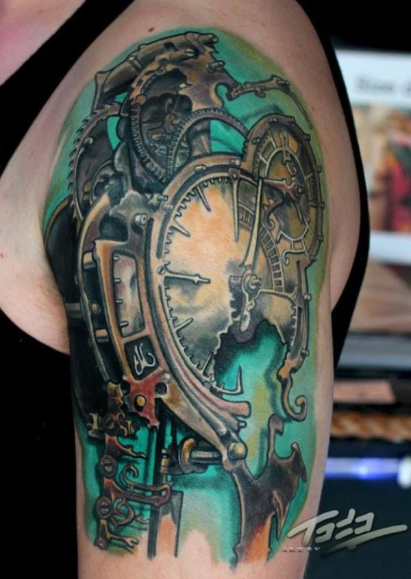 Biomechanical Broken Clock Tattoo On Shoulder