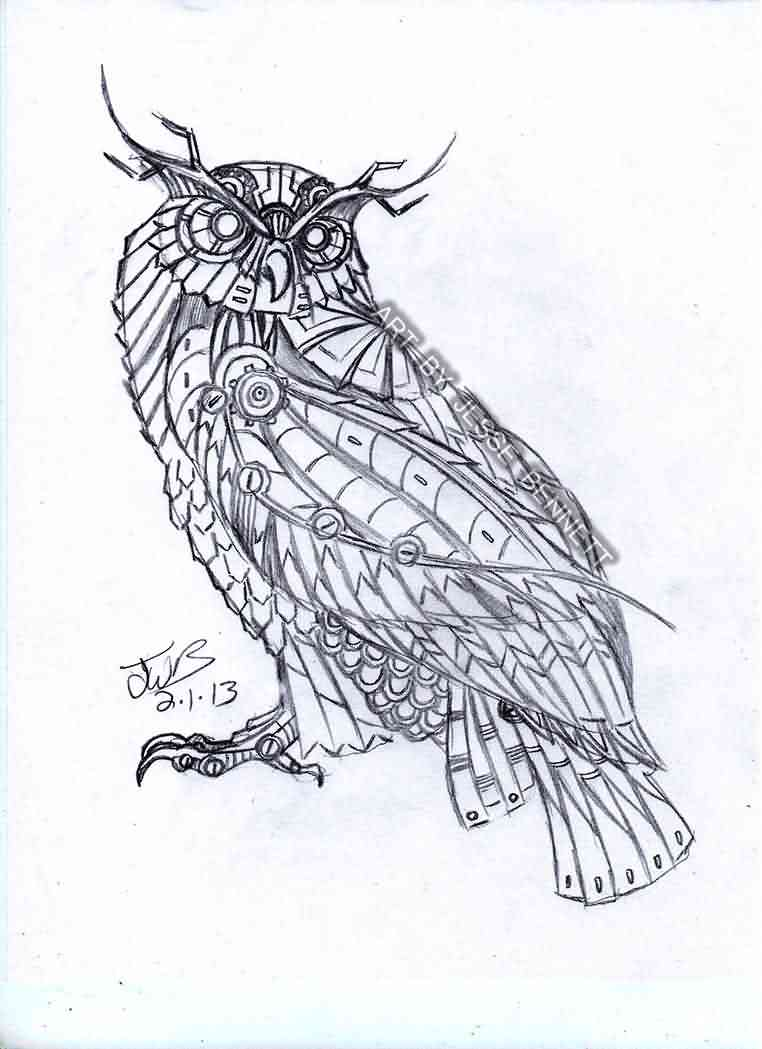Biomechnical Owl Tattoo Sketch