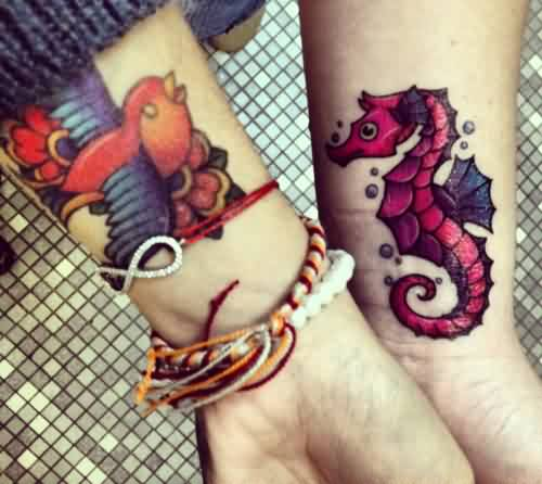Bird And Seahorse Wrist Tattoos
