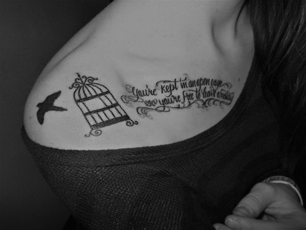 Bird Cage And Lettering Tattoos On Right Collarbone