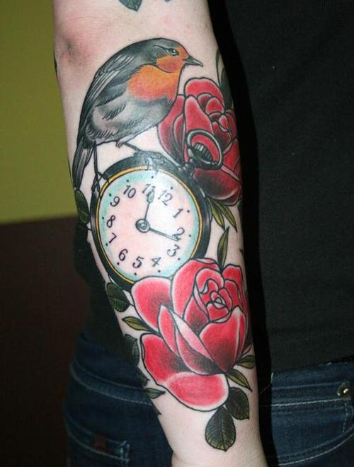 Bird On Clock And Roses Tattoos