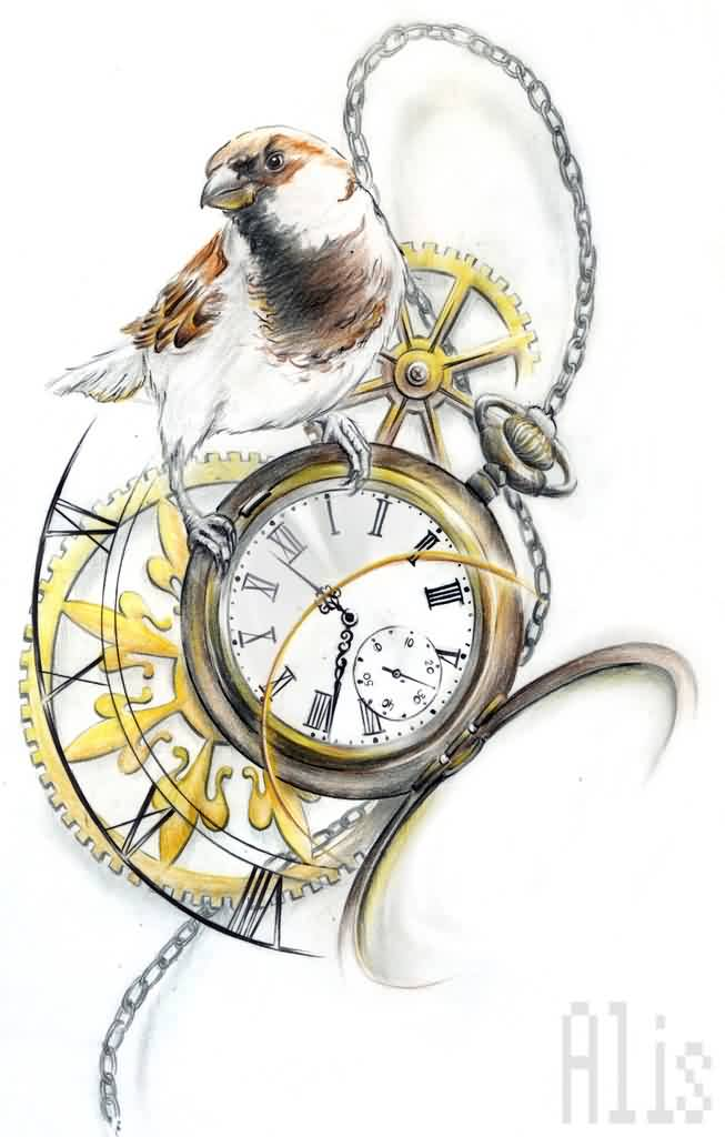 Bird On Clock Tattoo Design