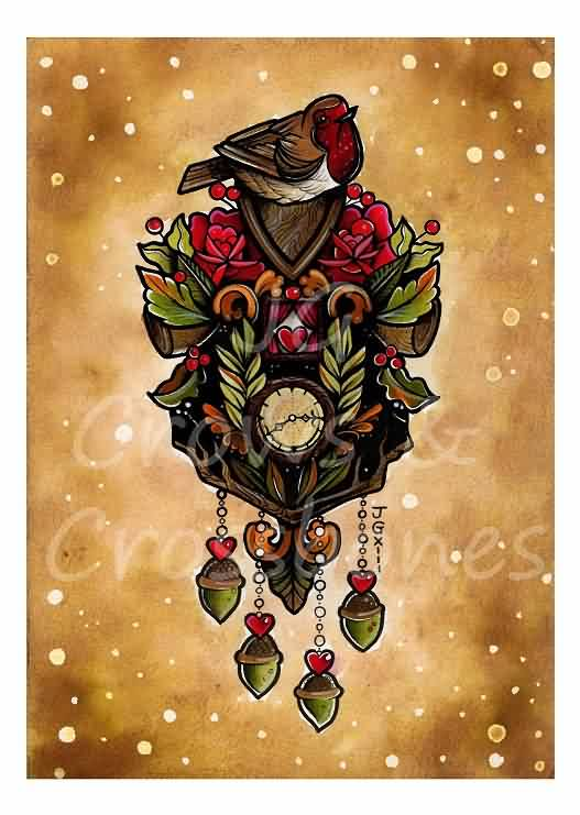 Bird On Cuckoo Clock Tattoo Flash