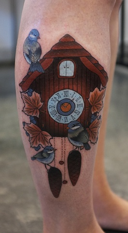 Bird On Cuckoo Clock Tattoo On Leg