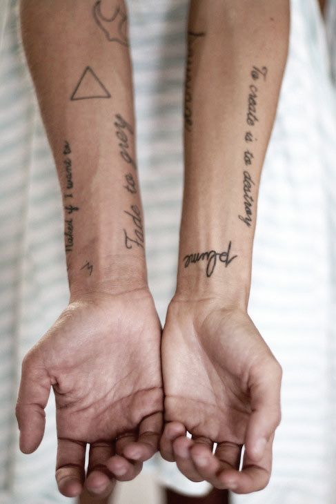 Bird Triangle And Lettering Tattoos On Forearms