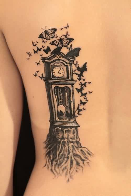 Birds On Grandfather Clock Tattoo On Side